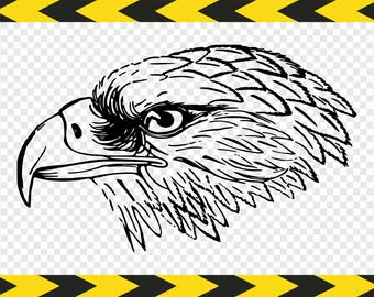 Eagle head SVG Hand drawn Clipart Printable wall art Dxf Pdf Png files