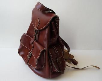 Brown leather backpack Vintage backpack Brown real leather Rucksack Genuine leather Retro backpack Brown bag Rucksack