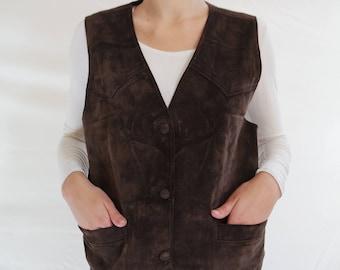 Vintage Suede Leather Vest Brown Striped Leather Vest Vintage Country Cowboy Western Waistcoat Three color Beige Brown Vest Boho Vest