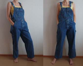 00f6428016a9 Vintage Denim Overalls Long Pants Overall Blue Workman Jumpsuit Jeans Blue  Unissex Overalls One piece Size EU 38