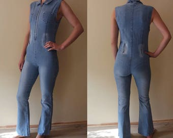 8c67fabfa05e 60s Vintage Denim Overall Sexy Look Jeans Onesie Wide Leg Long Pants Light  Blue Fitting Jumpsuit Jeans Blue Woman One piece EU38 UK10 US6