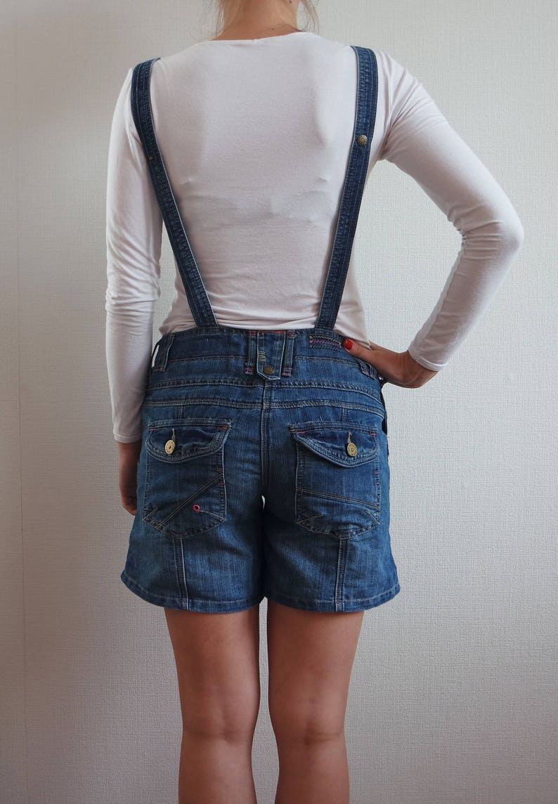 Vintage Blue Denim Overalls Jeans Jumpsuit Denim shortalls Medium size Womens Overalls Womens Denim Floral inside Size 8 UK