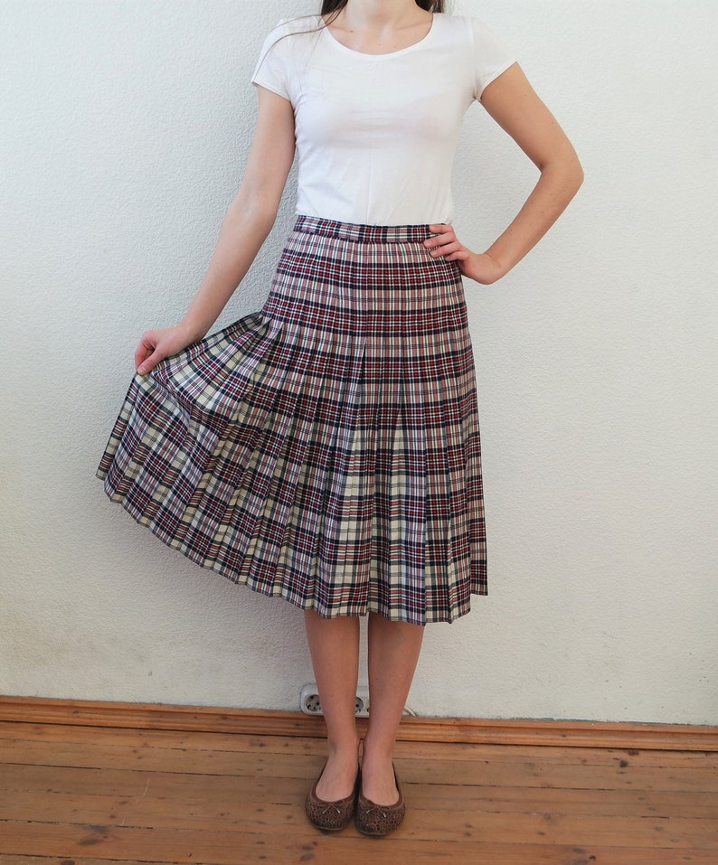 0c18592c9 Pleated Wool Skirts White Plaid Skirt Women Vintage Skirt | Etsy