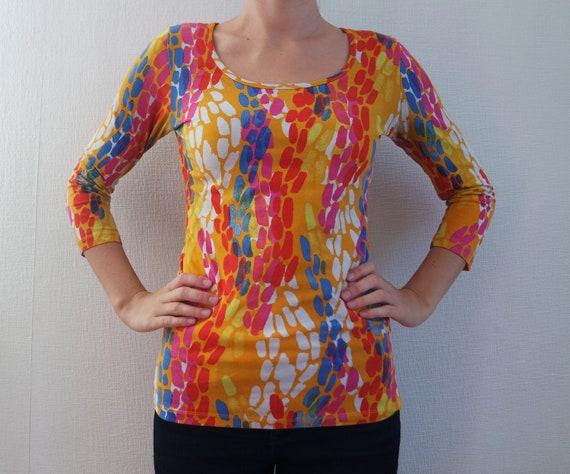 MARIMEKKO Vintage Shirt Womens, Yellow Pink Blue M