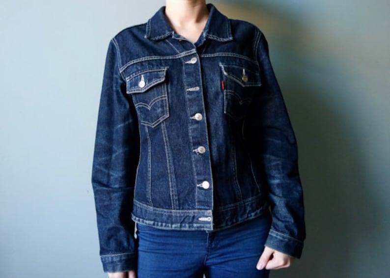 350963d9d1a4b Vintage LEVIS Denim Jacket Dark Blue Jeans Jacket 80s 90s