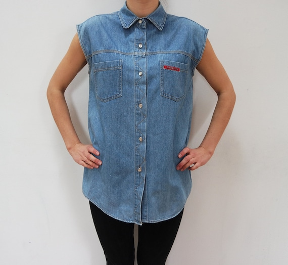 Vintage Denim Shirt Womens Blouse Shirt 80s Vintag