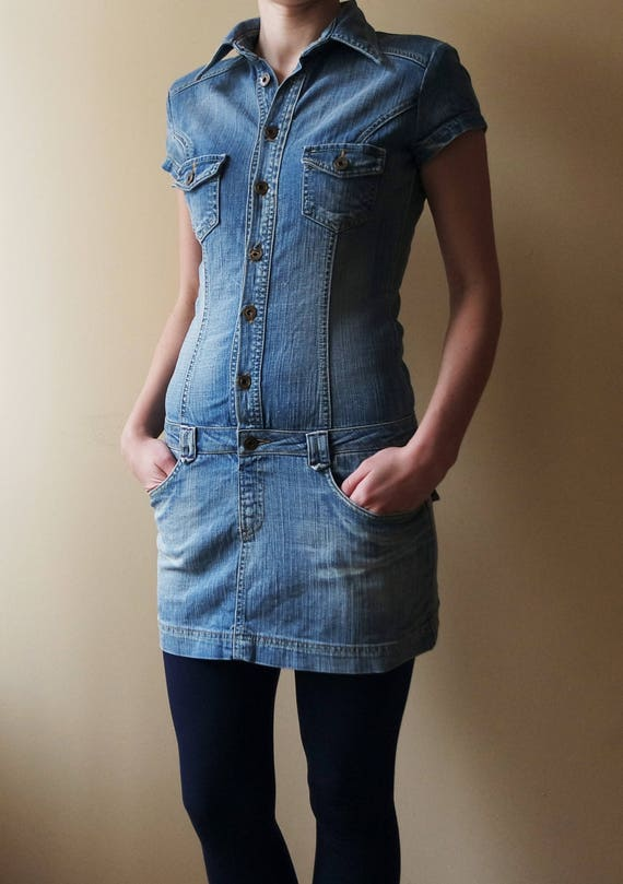 Denim Overalls Vintage Mini Dress Sarafan Overalls Miniskirt Mini dress Jeans Dress Boho One piece Blue Bright Blue M Size Medium