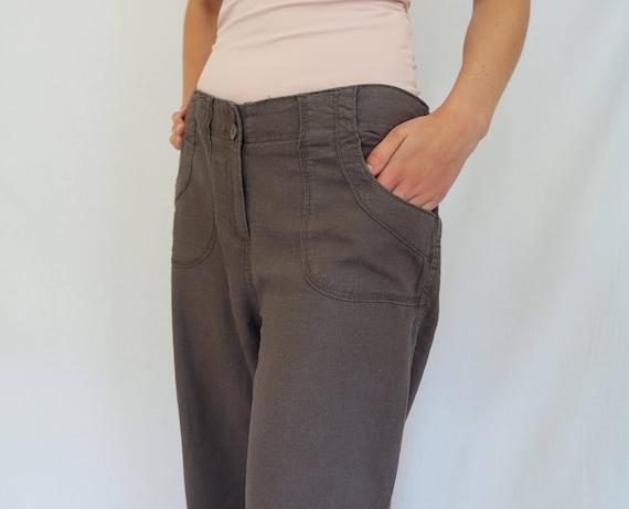 big discount new high innovative design Vintage Linen Trousers Women Brown Linen Pants Womens Pants Linen Clothing  Wide Linen Trousers Size M Womens Beige Pants