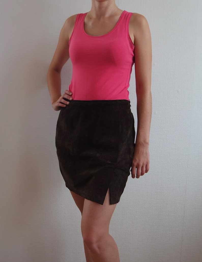 f3f89a96e8 Vintage Leather Skirt Size 10 UK Genuine Leather Suede Leather | Etsy
