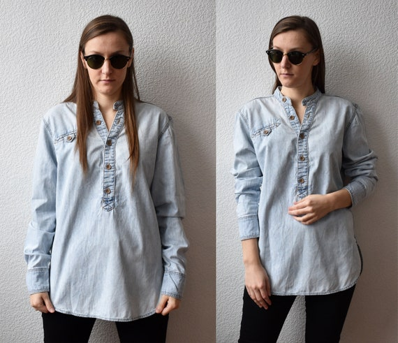 Denim Shirt Men, Denim Shirt Vintage Light Blue, M