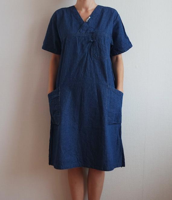 b9db0e01939 Vintage denim dress Blue sarafan Shirt dress Denim Short