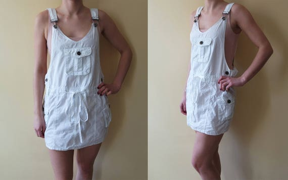 White Vintage Overall Short Skirts Overalls Cotton