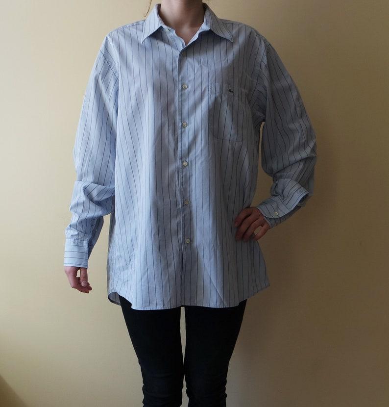 4f2fdb57 Vintage Oxford Lacoste Shirt Men Blue Oxford Shirt Classic Shirt Light blue  Striped Lacoste Shirt Mens Longsleeve Oxford Shirt Buttons Down