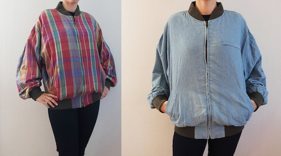 Denim bomber jacket men, Bomber women, Reversible