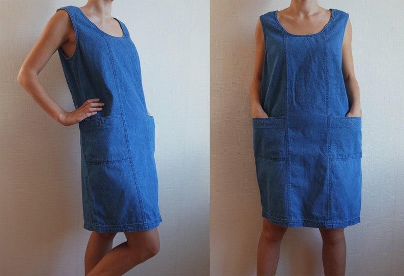 0005ca94465 Vintage denim dress women Blue sarafan dress Shirt dress for