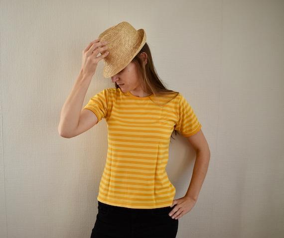 MARIMEKKO Shirt Yellow Striped Shirt Small Size Wo