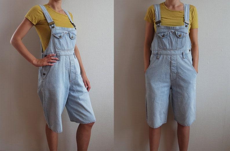 740a2206efb Vintage Denim Overalls Unisex Shortalls Jeans Light Blue Denim