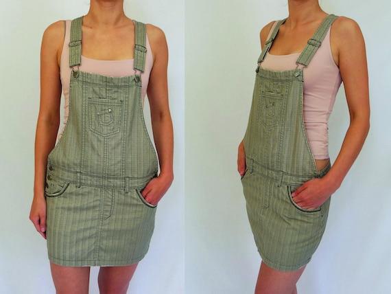 47a469c51 Medianos Vintage falda overoles mezclilla minifalda Jeans mono corto traje  caqui obrero mono de las mujeres mono mono