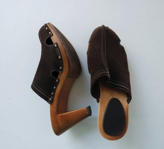 Vintage Brown Suede Clogs, Vintage leather Clogs s
