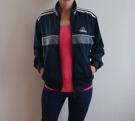 6ca3f18ec6613 Dark Blue ADIDAS Jacket Vintage Sports Tracking Jacket Navy Blue Adidas  Activewear Three Stripes White Stripes Small size