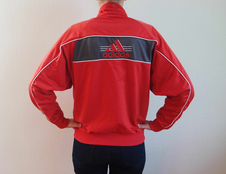 db464fcba1ac5 Vintage Sweatshirt Etsy Adidas Jacket Red 7wqpxRv