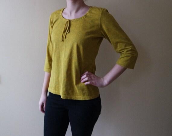 Vintage Yellow MARIMEKKO Shirt 3/4 Sleeves Ornamen