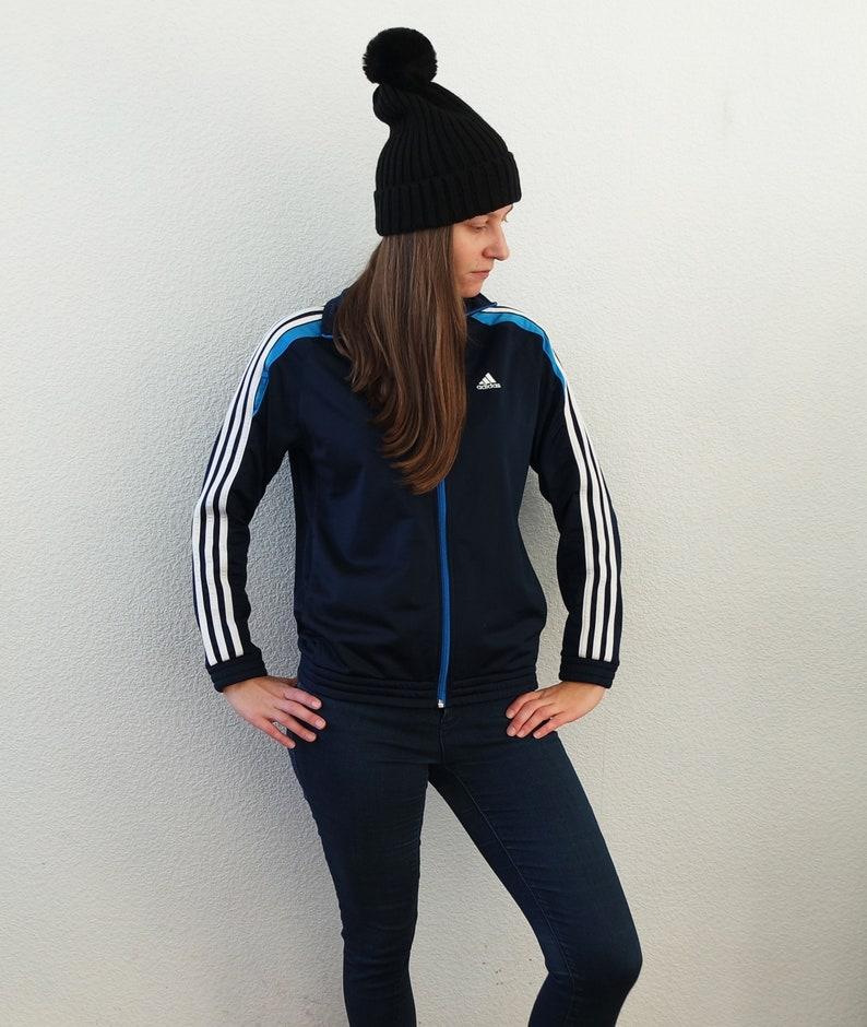 2fafcbafdee4 Dark Blue ADIDAS Jacket Vintage Adidas Sport Tracking Jacket