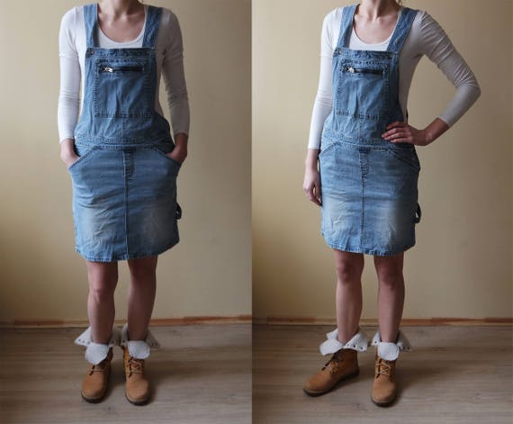 Vintage Denim Overalls Mini Dress Sarafan Overalls