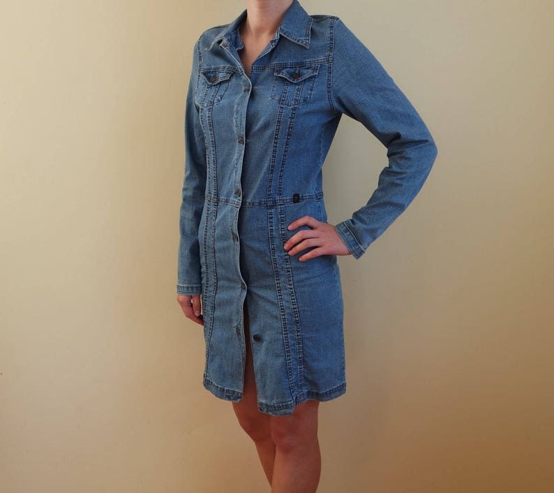 11bcb29070 Vintage Denim Dress Jeans Dress Blue Button up Sarafan Mini