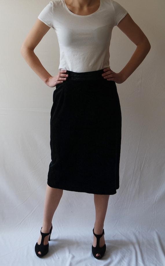 Vintage Black Skirts Velvet skirts Black Midi Skir