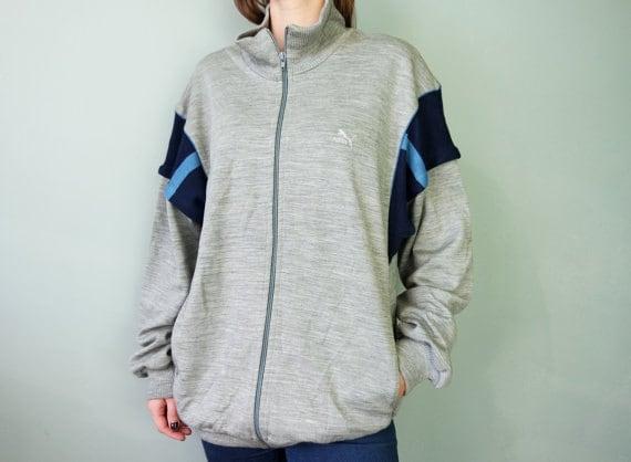 2bf51afc3855 PUMA Vintage Sport Jacket Gray Puma Jacket Wool Jacket Vintage