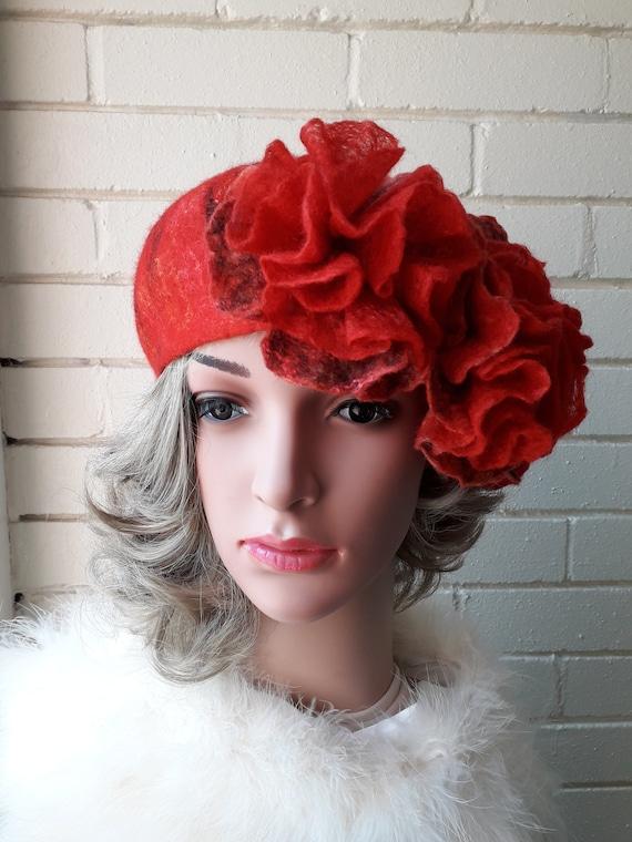 Red Felted 100% Wool Handmade Beret.Wool Flower. Nuno Felted Beret ... 0d2623e80c1
