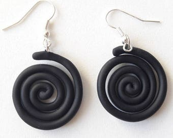 spiral earrings made of cold porcelain