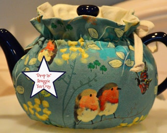 Snuggie Tea Cozy for 6 to 8 Cup Teapot Purple Forget Me Not Flowers