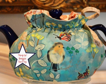 X SMALL TEA Cozy Drop In Snuggie design fits your 12-16 Oz that fills 2+ six Oz teacups fabric is robins egg blue cotton with robins lined