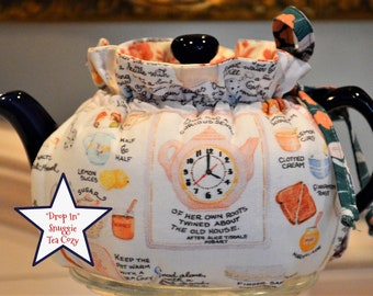 X SMALL TEA Cozy  new Drop In Snuggie design made with cotton afternoon tea print and lined in salmon calico cotton fits a 12-16 Oz teapot