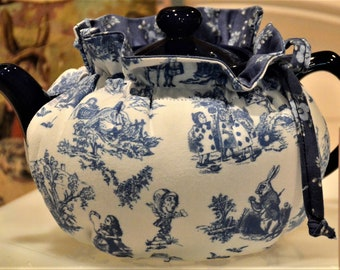 X SMALL TEA Cozy is Drop in Snuggie Style Alice in Wonderland mini  blue toile fits a 12-16 Oz teapot is lined in blue calico print cotton