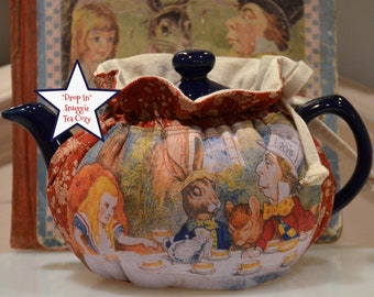 X SMALL TEA Cozy Drop in Snuggie for personal sized 12-16 Oz teapot is Alice in Wonderland artwork from England on rusty calico lined muslin