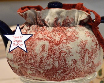 X SMALL TEA Cozy Drop In Snuggie fits your 12-16 Oz p oersonal teapot is made with Salmon Red linen look cotton Toile and lined red cotton