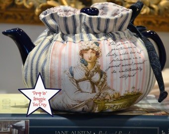 X SMALL TEA Cozy Drop In Snuggie design with Jane Austen theme Elizabeth and Mr Darcy fits your 12-16 Oz teapot lined in cotton script print