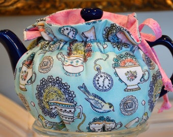 X SMALL SIZED Tea Cozy made for your personal 12-16 Oz teapot that fills 2+ six ounce teacups fabric Afternoon Tea cotton twill lined pink