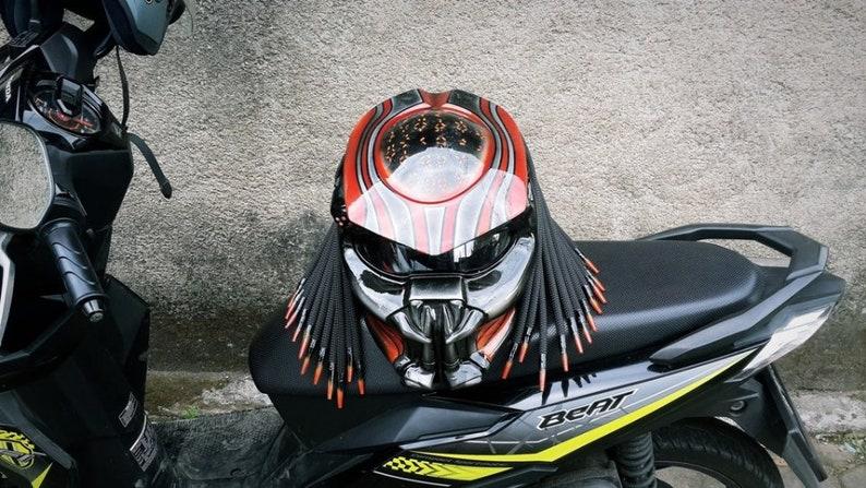 Orange Alien Symbol Helmet Predator Motorcycle Custom Dot Etsy