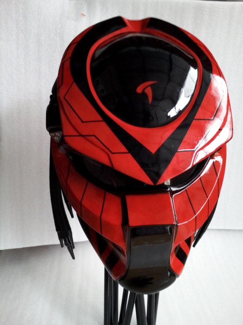 Great Red Black Helmet Predator Motorcycle Custom Dot Approve Etsy