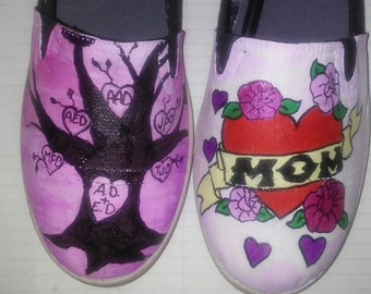 Mom and family painted shoes