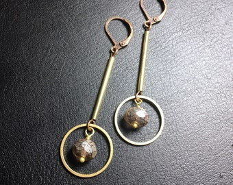 Czech beads earrings, brass stick earrings, brass hoop earrings