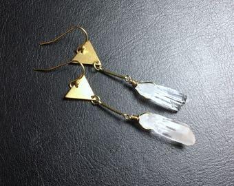 brass earrings, triangle earrings, raw quartz earrings