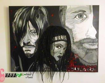 The Walking Dead Michonne, Daryl and Rick paint. AMC portrait, acrylic on huge canvas, real dread dreadlock, dreads, rasta