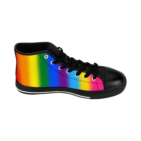 Gay Stained Lgbt Lesbian Flag Pride Pansexual Glass Custom Bisexual Mens Rainbow Pride Transgender Hightop Queer Sizing Sneakers vqwpCCB
