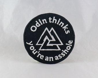 Odin Thinks You're An A**hole patch against white supremacy racism pro social justice asatruar asatru