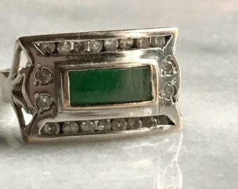 vintage jade ring   vintage jade gold ring   bezel set jade ring with diamonds   14k gold ring
